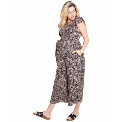 イングリッドアンドイザベル ジャンプスーツ トップス レディース Maternity Flutter Sleeve Wide Leg Maternity Jumpsuit Taupe/Leopard