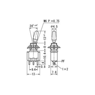 トグルスイッチ MS-165-169シリーズ ミヤマ電器 MS-166-R