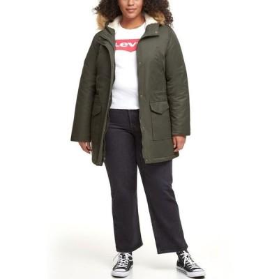リーバイス レディース コート アウター Trendy Plus Size Faux-Fur-Trim Parka