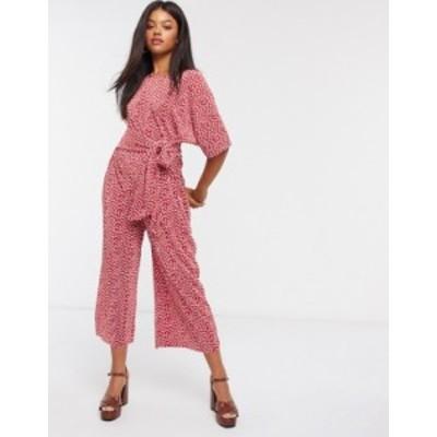 エイソス レディース ワンピース トップス ASOS DESIGN jersey kimono sleeve plisse jumpsuit with tie waist in red spot Red spot