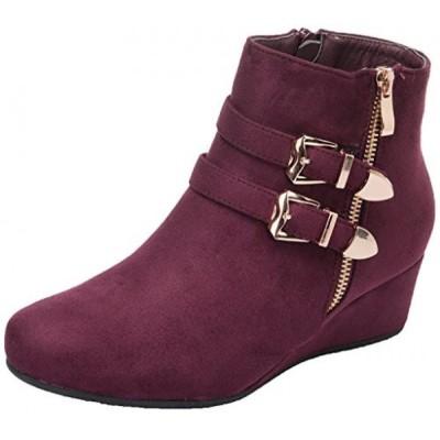 ドリームペア レディース ブーツ DREAM PAIRS Women's Ghile Burgundy Low Wedge Heel Ankle Booties - 10 M US