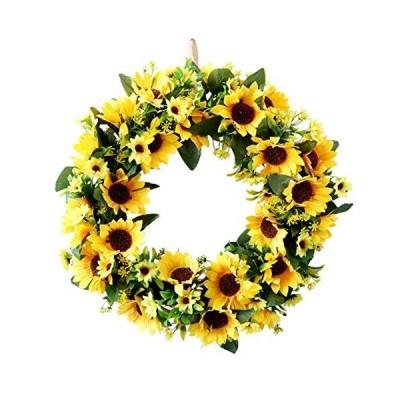 S_SSOY 造花 ひまわり リース 15.7インチ 夏秋 大きなリース 春 通年 花 緑の葉 屋外 玄関 屋内 壁 結婚式 室内装飾