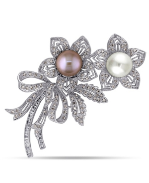 South Sea, Pink Cultured Freshwater Pearl and Brown and White Diamond (2 ct.t.w.) Floral Bouquet Bro