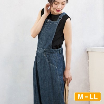 Ranan 【M~LL】デニムマキシジャンパースカート  L レディース