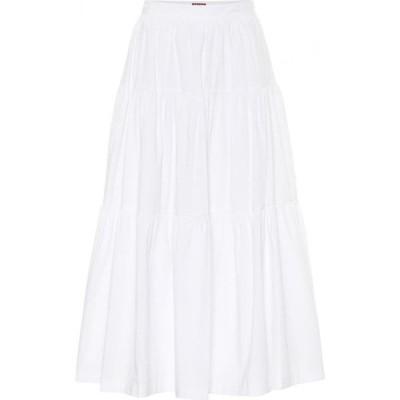 スタウド Staud レディース ひざ丈スカート スカート sea cotton poplin midi skirt White