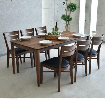 幅1800ダイニング7点セット ウォールナット無垢材 ウレタン樹脂塗装  椅子座面PVC  テーブル幕板仕様 天板ハギ材仕様