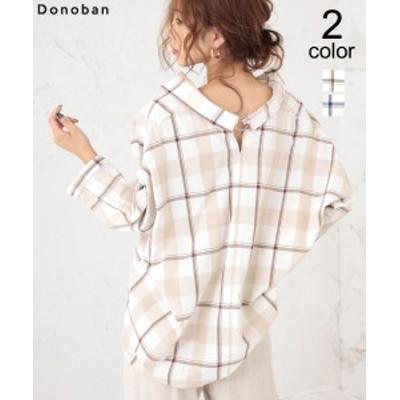 メール便OK トップス バックリングオーバーサイズチェックシャツ レディース ブラウス 綿 七分袖 DONOBAN