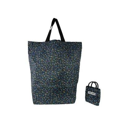 ショッピングバッグ ネコ柄 コンパクト 6731 小花柄 紺