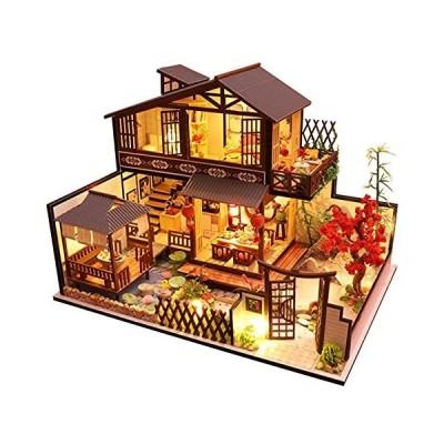 (新品) WADILE Dollhouse Wooden with Funiture, Doll House Plus Dust Proof and Music Movement, DIY Miniature Dollhouse Kit, 1:24 Scale C