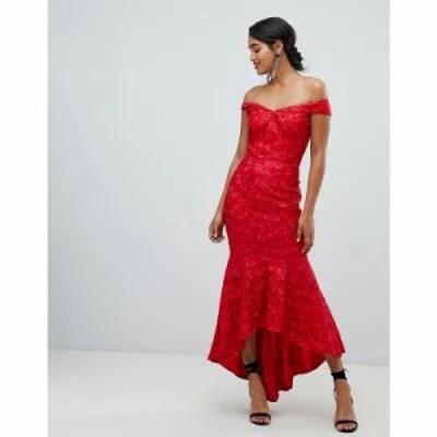チチロンドン ワンピース bandeau embroidered high low maxi dress in red Red