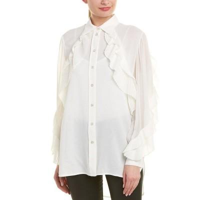 ジバンシー シャツ トップス レディース Givenchy Pleated Silk-Blend Blouse white