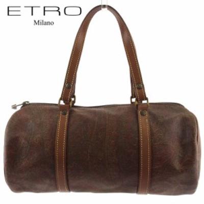 【ラスト1点】 エトロ ハンドバッグ ミニボストンバッグ 筒型バッグ レディース メンズ ペイズリー ブラウン系 ゴールド PVC×レザー ETR