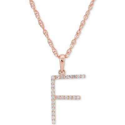 """メイシーズ Macy's レディース ネックレス ジュエリー・アクセサリー Diamond (1/10 ct. t.w.) Initial Pendant Necklace in 10k Rose Gold, 16"""" + 2"""" extender"""