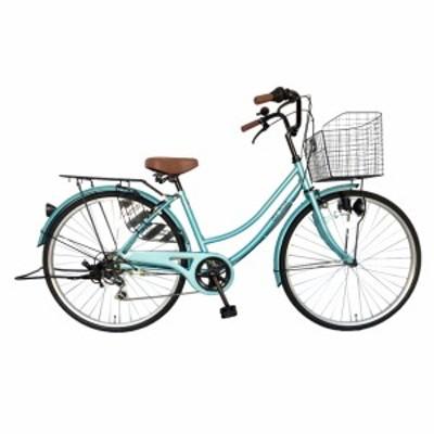 次回入荷未定 自転車 26インチ ママチャリ 外装6段変速ギア シティサイクル 変速 ライトブルー 青 かわいい dixhuit