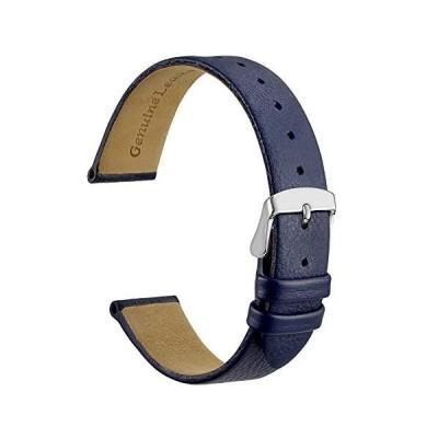 [WOCCI] 本革時計バンド 14mm カーフレザー 腕時計交換ベルト ブルー シルバーバックル