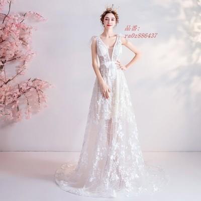 ウエディングドレス ウェディングドレス 二次会 ドレス 花嫁 Aライン 白 パーティー 演奏会 シースルーレース カラードレス ワンピース 結婚式 透かし感
