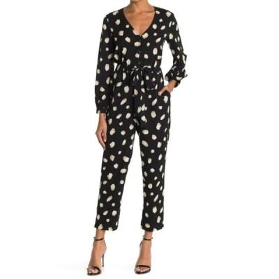 ラッシュ レディース ワンピース トップス Dot Print Tie Waist Jumpsuit BLACK