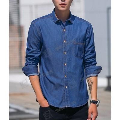 デニムシャツ メンズ シンプル薄めデニムコート ワイシャツ デニムジャケットカジュアルブラウス カジュアル シャツS~3XL日系原宿風アメカジ