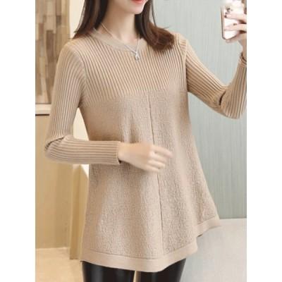 【送料無料】大振り裾 合わせやすい 大人気 ラウンドネック 着やせ 切り替え 長袖 セーター