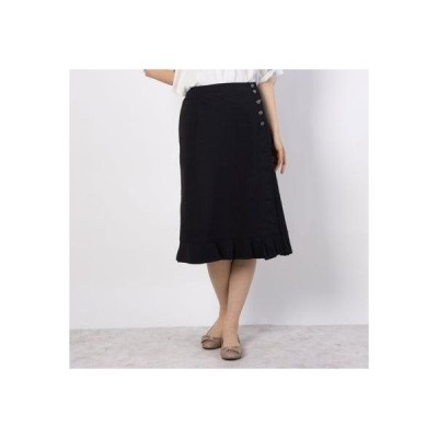 リネーム Rename フロントスリット裾フリルスカート (ブラック)