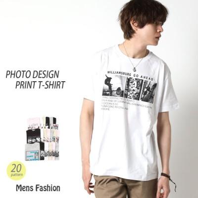 Tシャツ メンズ 半袖 フォトデザイン プリントTシャツ ショート丈 綿100% 全20柄 春夏 トップス 丸首