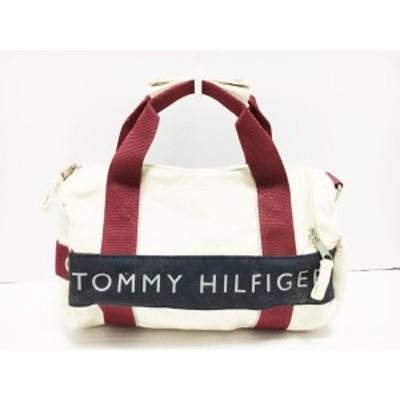 トミーヒルフィガー TOMMY HILFIGER ハンドバッグ レディース アイボリー×ネイビー×ボルドー キャンバス【中古】20200711