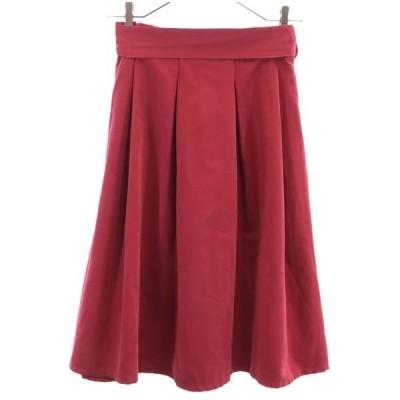 ロペピクニック タック ギャザー スカート 36 赤 ROPE PICNIC 膝丈 レディース 古着 201023
