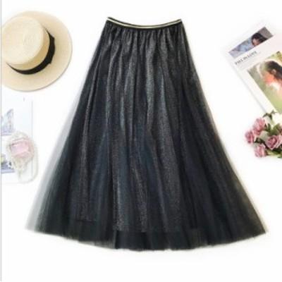 チュールスカート 4色 ハイウエスト 仙女 ふんわり 着痩せ ロングスカート チュールドレス 裏地で透けない フレアスカート ダンス衣装