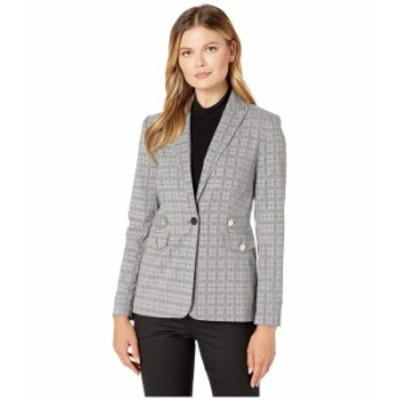 カルバンクライン レディース コート アウター Plaid Blazer with Tabs and Pockets Light Grey Glen Plaid