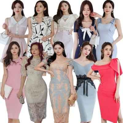 「05/13 新作追加 Special Offer」高品質韓国ファッションOL正式な場合礼装ドレスセクシーなワンピース一字肩二点セット側開深いVネックやせて
