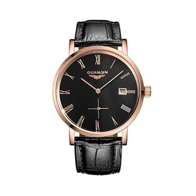 Guanqin Men's Calendar Analog Automatic Self Winding Mechanical Wrist Watch with Stainless Steel Case and Leather Strap (6 Rose Gold Black) 並行輸