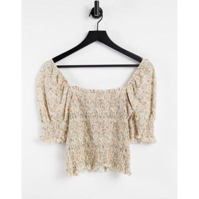 アンドアザーストーリーズ & Other Stories レディース トップス organic cotton shirred puff sleeve top in beige floral