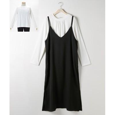 大きいサイズ 2点セット(キャミワンピース+インナープルオーバー)【JINTY】 ,スマイルランド, ワンピース, plus size dress