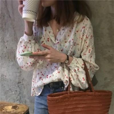 トップス ブラウス マオカラー 小花柄 シフォン ガーリー フェミニン 春 ホワイト ブラック 可愛い ガーリー シャツ Vネック カジュアル