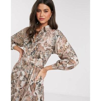 クローゼットロンドン レディース ワンピース トップス Closet kimono sleeve shirt dress in light snake print Beige
