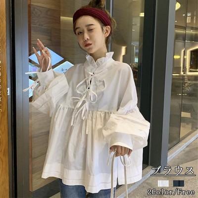 ワイシャツの女性の長袖の2020春秋は新型の韓国版/シャツを詰めて設計感がゆったりしています/着瘦