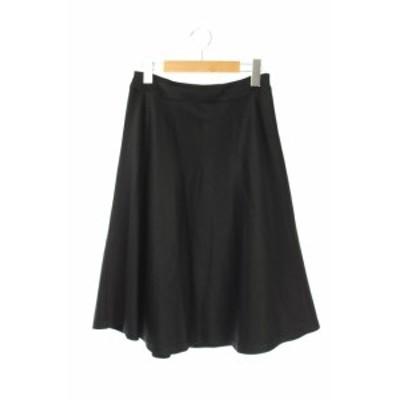 【中古】エムアイディーブティック m.i.d boutique ポリエステルフレアスカート 膝丈 36 黒 /AA ■OS レディース