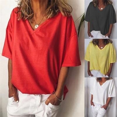 Tシャツ レディース オシャレ vネック Tシャツ 半袖 tシャツ ゆったり ファッション 無地 通勤 OL 30代40代 夏トップス 4色