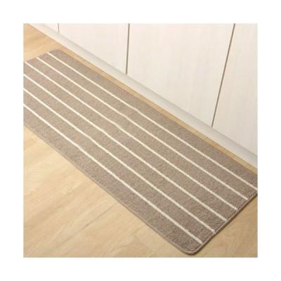 メーカー直送 イケヒコ キッチンマット 洗える シンプルボーダー ベージュ 約45×180cm