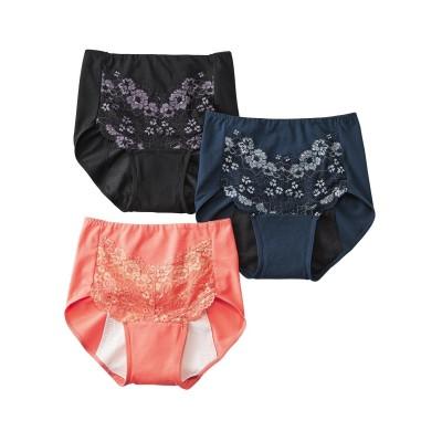 お腹らくちん綿混ストレッチフロントレース深ばきサニタリーショーツ3枚組(羽付ナプキン対応) サニタリー(生理用ショーツ)Panties