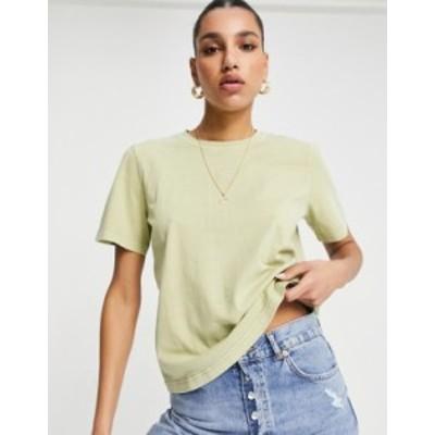 リーボック レディース シャツ トップス Reebok natural dye central logo t-shirt in harmony green Grey