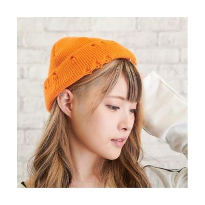 VIBGYOR / VIBGYOR Select/リング安全ピン付きダメージニット帽(YA) WOMEN 帽子 > ニットキャップ/ビーニー