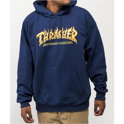 スラッシャー THRASHER メンズ パーカー トップス Thrasher Fire Logo Navy Hoodie Navy