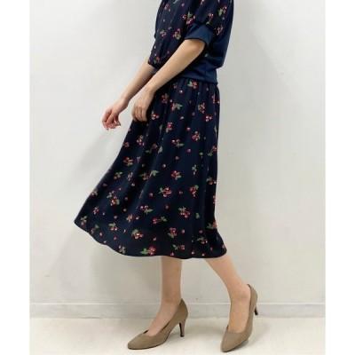 スカート 【日本製】チェリープリントギャザースカート