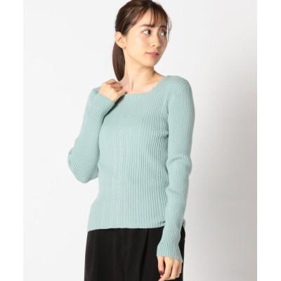 【ミューズ リファインド クローズ】 ウォッシャブルスクエアケーブルニット レディース ライト グリーン M MEW'S REFINED CLOTHES