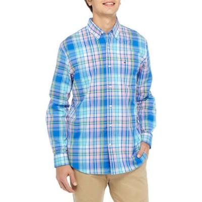 クラウン&アイビー メンズ シャツ トップス Long Sleeve Plaid Poplin Shirt