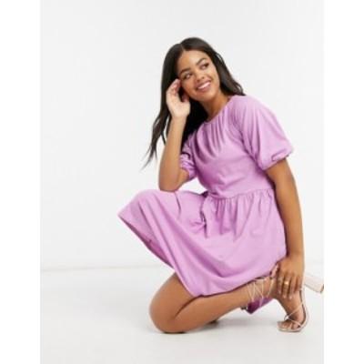 エイソス レディース ワンピース トップス ASOS DESIGN mini smock dress with gathered neck in violet Violet