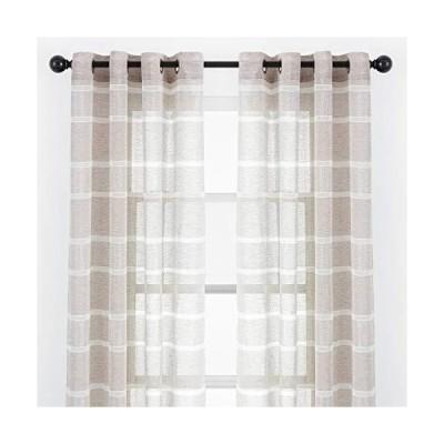 Chanasya 2パネル フェイクリネン シマー テクスチャー シアーカーテンパネル  窓 リビングルーム ベッドルーム キッチン オフィス用  エ
