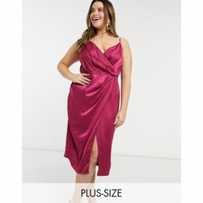 リトル ミストレス Little Mistress Plus レディース ワンピース ラップドレス ミドル丈 ワンピース・ドレス wrap satin midi dress in b