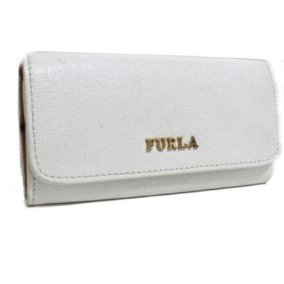 フルラ 6連 ロゴ キーケース レディース 型押しレザー ホワイト 中古